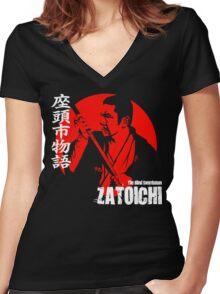 Shintaro Katsu Japan Retro Classic Samurai Movie Zatoichi The Blind Swordsman  Women's Fitted V-Neck T-Shirt
