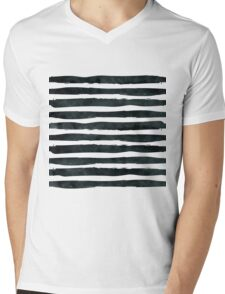Black ink abstract horizontal stripes background Mens V-Neck T-Shirt