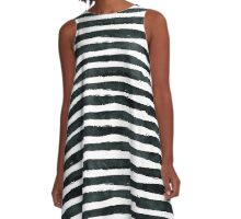 Black ink abstract horizontal stripes background A-Line Dress