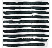 Black ink abstract horizontal stripes background Poster