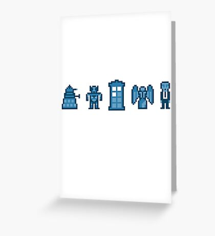Time and Space Invaders Greeting Card