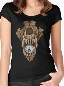 Death Clock Wolf Skull Women's Fitted Scoop T-Shirt