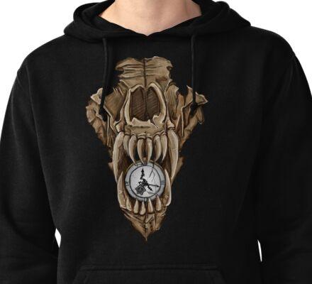 Death Clock Wolf Skull Pullover Hoodie