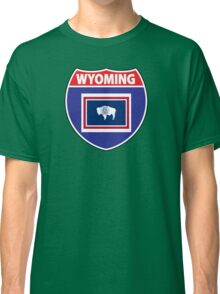 Wyoming flag USA highway seal sign Classic T-Shirt