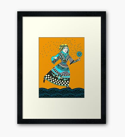 Queen Running with Magic Flower Framed Print