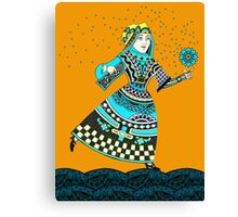 Blue Queen Running with Magic Flower Canvas Print