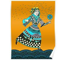Blue Queen Running with Magic Flower Poster