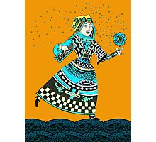 Blue Queen Running with Magic Flower Photographic Print