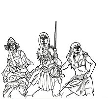 The Xena Gang (black and white) by glass-garden