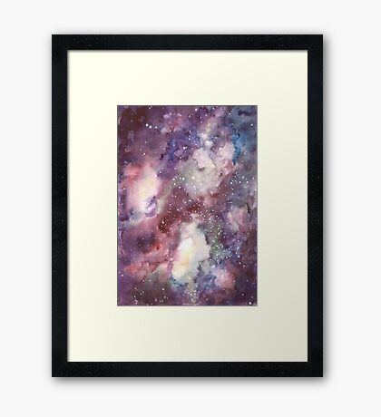 Hand painted abstract watercolor texture Galaxy Framed Print