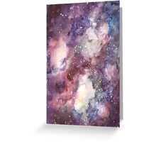 Hand painted abstract watercolor texture Galaxy Greeting Card