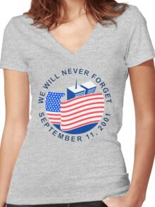 NEVERFORGET Women's Fitted V-Neck T-Shirt