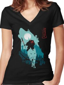 Princess Mononoke Women's Fitted V-Neck T-Shirt