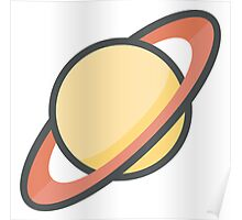Cartoon Saturn Icon Poster
