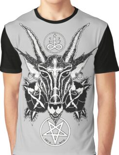 Baphoment and Satanic Symbols Graphic T-Shirt