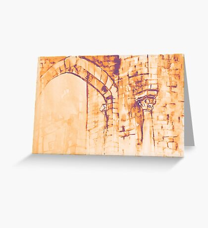 Colorful watercolor painting with classical building detail Greeting Card