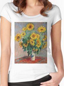 Claude Monet - Sunflowers  Women's Fitted Scoop T-Shirt