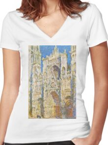 Claude Monet - Rouen Cathedral, West Faсade, Sunlight (1894)  Women's Fitted V-Neck T-Shirt