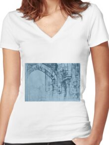 Colorful watercolor painting with classical building detail Women's Fitted V-Neck T-Shirt