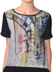 Colorful watercolor painting with classical building detail Chiffon Top