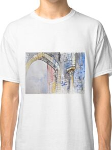Colorful watercolor painting with classical building detail Classic T-Shirt
