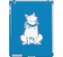 white dog blue contour cartoon style illustration iPad Case/Skin