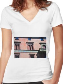 Building facade from Bologna with red brick and classical decoration Women's Fitted V-Neck T-Shirt