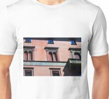 Building facade from Bologna with red brick and classical decoration Unisex T-Shirt