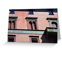 Building facade from Bologna with red brick and classical decoration Greeting Card