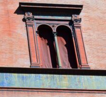 Building facade from Bologna with red brick and classical decoration Sticker