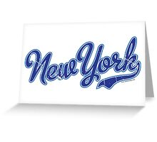 New York Script Blue VINTAGE Greeting Card