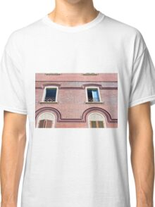 Facade detail with decorative windows and red brick  Classic T-Shirt