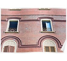 Facade detail with decorative windows and red brick  Poster