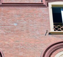 Facade detail with decorative windows and red brick  Sticker