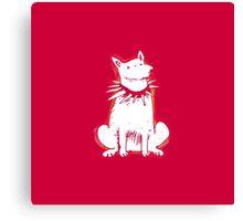 white dog red contour cartoon style illustration Canvas Print