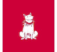 white dog red contour cartoon style illustration Photographic Print