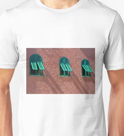 Windows with green shutters on a red wall Unisex T-Shirt