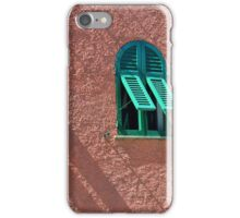 Windows with green shutters on a red wall iPhone Case/Skin