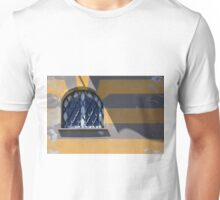 Arched window on a yellow gray striped wall Unisex T-Shirt