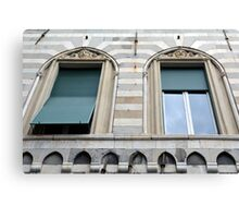 Two classical windows with decoration Canvas Print