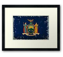 New York State Flag VINTAGE Framed Print