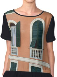 Orange Italian facade with arched windows Chiffon Top