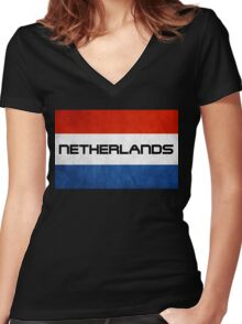 Netherlands Flag Women's Fitted V-Neck T-Shirt