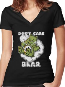 Don't Care Bear Women's Fitted V-Neck T-Shirt