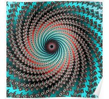 Great Hypnotic Swirl - black, bordeaux, turquoise Poster