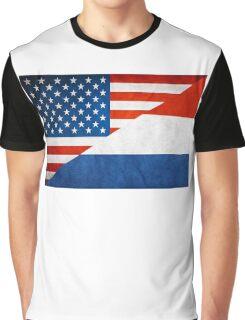 Half Netherlands Half American Flag Graphic T-Shirt
