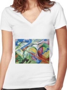 Franz Marc - The Sheep 1913 - 1914  Women's Fitted V-Neck T-Shirt