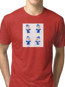 Vector cute christmas snowman - blue collection Tri-blend T-Shirt