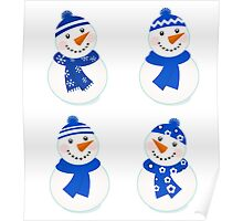 Vector cute christmas snowman - blue collection Poster