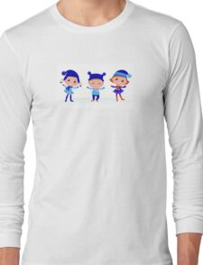 Collection of cute winter children Long Sleeve T-Shirt